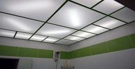 Кассетный потолок в ванную комнату. Матовое стекло