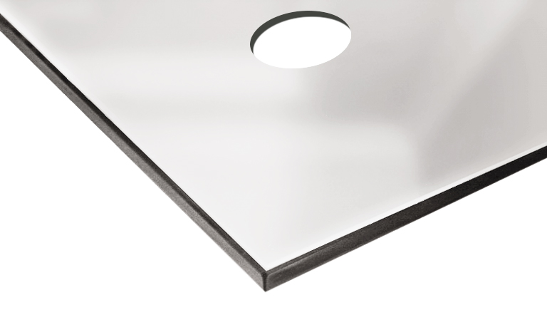Зеркальная плитка с отверстием сребро
