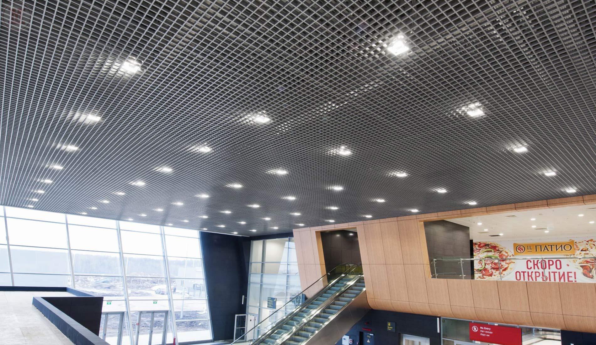 Подвесной потолок Грильято в торговом центре